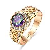 Yazilind Brilliant Zirkon Ringe Intarsien Strass vergoldet Engagement für damen Größe 18.1
