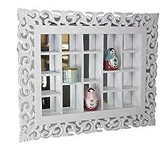 Idea Regalo - elbmöbel.de - Specchio da parete in stile rustico anticato con vari scomparti, colore: bianco