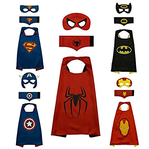 Superhero Capes For Children - Set of 5 with Matching Felt Mask & Cuff - Great for Kids Birthday Parties - Party Favour Bags - Fancy Dress Costumes - Dressing Up - Pretend Play - Gifts & Much