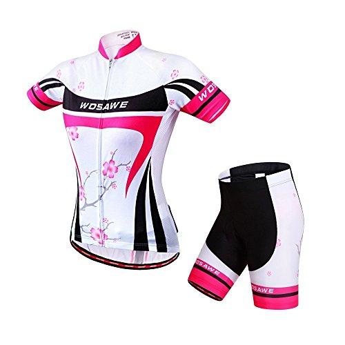 Wosawe - maglia da ciclismo a maniche corte e pantaloncini imbottiti in gel 4d, abbigliamento sportivo da donna per mtb, donna, plum flower suit, s