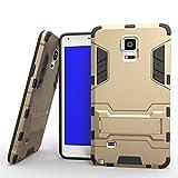Samsung Note 4 Hülle, YHcase (Rüstung Series) Dual Layer Hybrid Handyhülle Drop Resistance Handys Schutz Hülle mit Ständer für Samsung Galaxy Note 4 -Gold
