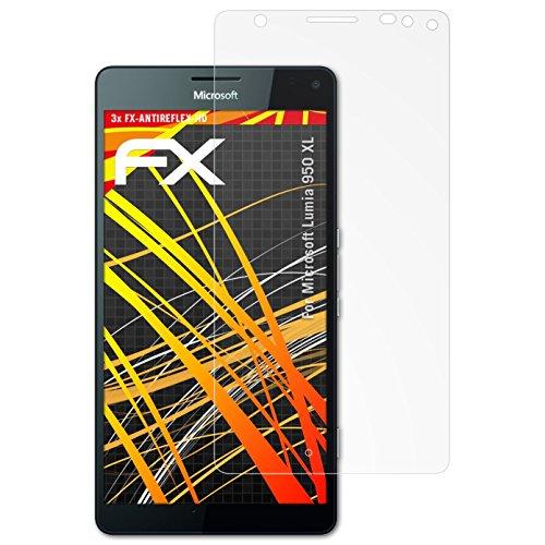 atFolix Schutzfolie kompatibel mit Microsoft Lumia 950 XL Bildschirmschutzfolie, HD-Entspiegelung FX Folie (3X)
