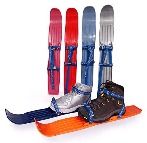 Kinderski für Tricks, Lernen und Spaß im Schnee für Größe 24-41 - flexibel, bequem u. sicher an allen Schuhen/Stiefeln - hochwertigen Anschnallriemen - ideale Plastik-skis für Kinder (Grün)