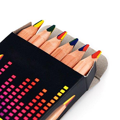logres 6pcs Rainbow Jumbo Bleistift natur Holz Stifte Set Kunst Zeichnen Graffiti + Spitzer