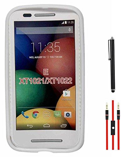 DMG Flexible Soft Glossy TPU Back Cover Case for Motorola Moto E XT1022 (White) + AUX Cable + Stylus