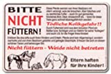 Hinweisschild - Bitte nicht füttern ... - Weide Pferd Equidae - Equus ferus caballus - Reiten Reitsport Stall Hippo Hippologie Schild Warnschild Warnzeichen Arbeitssicherheit Türschild Tür Kunststoff Kunststoffschild Geschenk Geburtstag