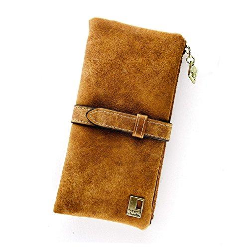 Grosser 60% Off - Woolala Damen Vintage Style Brieftasche Bifold Nubuck Drawstring Portemonnaie Lange Geldbörse, Kaffee -