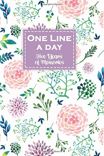One Line a Day, Five Years of Memories: Watercolor Flowers, A Five Year Memoir, 6x9 Dated and Lined Diary por Panda Studio