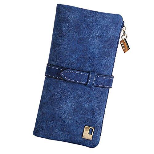 para mujer sobre cartera de piel botón embrague Monedero Largo Bolso Cremallera Bolsa (Azul)