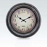 Yunfeng Wanduhr leise,Retro Metall Zeiger stumm elektronische Bewegung Quarz Uhr-Tick einfach ablesbare Wanduhr