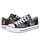 Hotroad Womens Bordado Canvans Shoes Mujeres Zapatillas Low Top Black Sneaker Liquidación Ladies Tennis Shoes, Bordado de flores/36 EU
