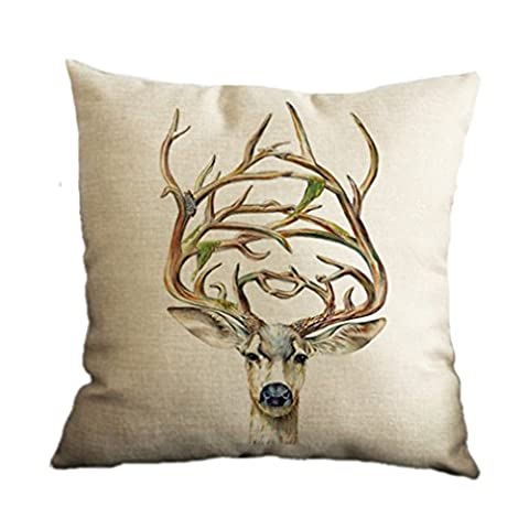 Nunubee Cotton Linen Home Decor Throw Sofa Car Cushion Cover Pillow Case Elk