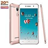 Smartphone Débloqué 4G, HOMTOM-HT37pro Téléphone Portable Debloqué (Ecran: 5 Pouces -3 Go + 32 Go - Dual Micro SIM - Android 7.0 - MTK6737 Quad-Core1.3GHz - Batterie 3000mAh - Caméra 13MP&8MP) Or Rose