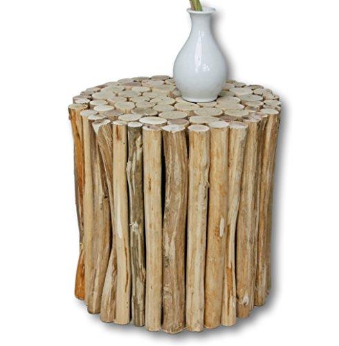Teakholz Rustikal Couchtisch (elbmöbel Hocker in braun aus Holz (Rund))