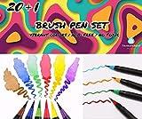 20 marqueurs aquarelle pinceau + 1 pinceau à eau - Idéal pour le lettering, la calligraphie, le dessin créatif, les bandes dessinées, les mangas - Pointe souple.