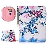 SainCat Funda iPad Mini 1234, PU Cubierta de 360° Smart Cover PU Leather Silicona Cover con Patrón Plegable con protección patrón del Gato para iPad Mini 1234-Mariposa Azul en Polvo