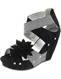 62a8a115 New Ladies/Womens Black Ruby Shoo Wedge Sandals, Cage Strap Design - Black -
