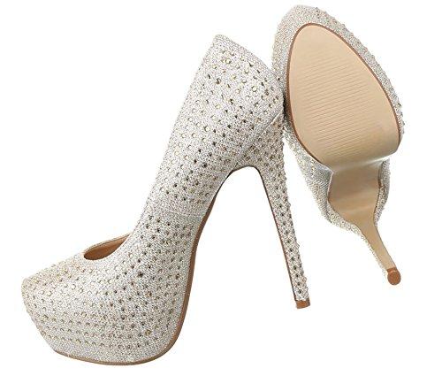Damen Pumps Schuhe High Heels Stöckelschuhe Stiletto Plateau Gold Schwarz Rot Silber 36 37 38 39 40 Gold