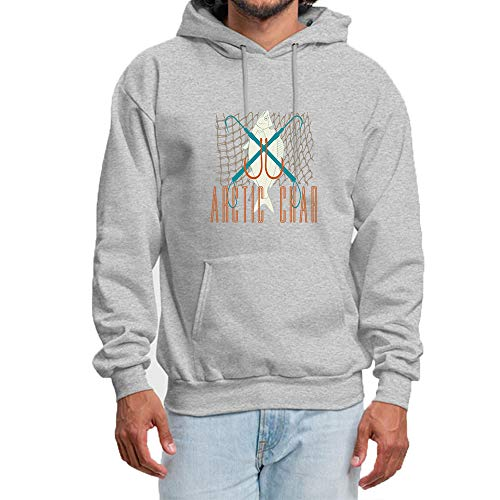 lingshirt Homme Sweat à Capuche Pullover Sweat-Shirt Pull HoodieTop Type de col: col Rond à Capuche Fish Hook Salmon Imprimé Hoodie Pull Tops Gris 2XL