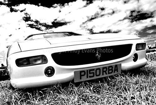 Ferrari eine 45,7x 30,5cm Fotografieren Fotodruck A Classic gelb ferrari-Sport Motor Front View Landschaft Foto schwarz und weiß Bild Fine Art Print Fotografie Durch Andy Evans Fotos