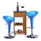 Relaxdays Barhocker 2er Set, höhenverstellbar, drehbar, bis 120 kg, mit Lehne, Barstuhl, HxBxT: 88 x 44 x 40 cm, blau