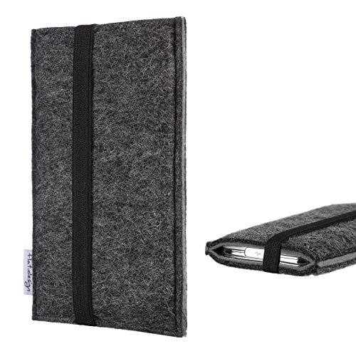 flat.design Handyhülle Lagoa für Bluboo Dual | Farbe: anthrazit/grau | Smartphone-Tasche aus Filz | Handy Schutzhülle| Handytasche Made in Germany