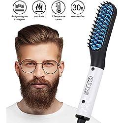 Lisseur Barbe Homme, Tencoz Multifonctionnel Fer À Friser Redresser Chauffage en Céramique Lisseur Barbe et Cheveux Rapide Lisseur de Barbe Peigne pour Hommes (110V-240V) (White)