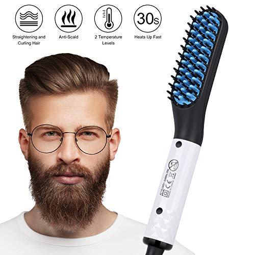 Lisseur Barbe Homme, Tencoz Brosse Lissante Chauffante en Céramique PTC Contrôle de Double Tension Lisseur Barbe Rapide Lisseur de Barbe Peigne pour Hommes (110V-240V)