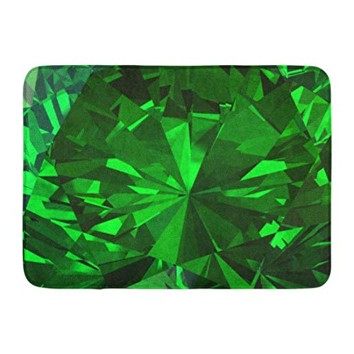 shyly Fußmatten Badteppiche Outdoor/Indoor Fußmatte Grün Facettierte Smaragd Diamant 3D Sparkle Stein Abstrakte Edelstein Badezimmer Dekor Teppich 23,6 (L) x 15,7 (W) Zoll -