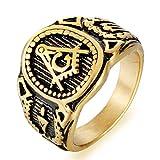Coniea Hochzeitsring Edelstahl Freimaurer-Ring-Punk-Band Gold Ring Vintage Größe 62 (19.7)