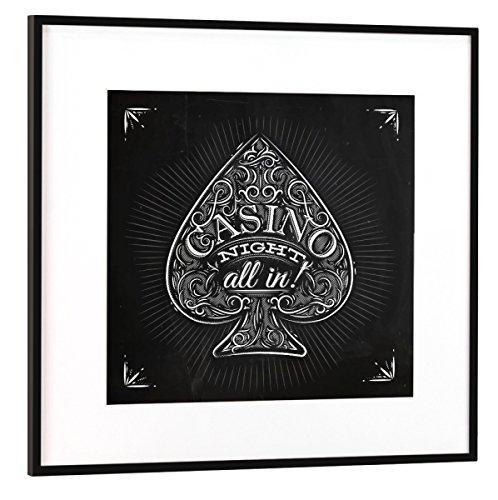 artboxONE Poster mit Rahmen Schwarz (Metallic) 20x20 cm Pik Casino Nacht Kreide von Anna Kozlenko - gerahmtes Poster (Anzug Sieg)
