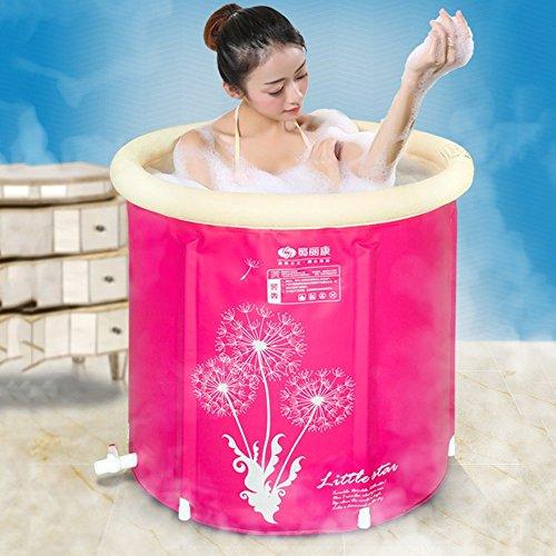 FWec Kunststoffbadewanne, Aufblasbare Badewanne Für Erwachsene Mit Ablauf, Tragbare Faltbare Freistehende Badewanne Sauna Aufblasbare Innenwannen Für Erwachsene (75 * 75cm,Pink) (Erwachsene Sauna Anzug)