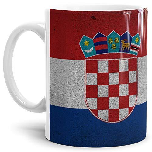 Tassendruck Flaggen-Tasse Kroatien Retro-Style - Kaffeetasse/Mug / Cup - Qualität Made in Germany