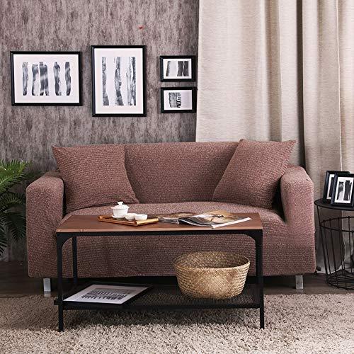 BAIF Melange Strickbezüge Universal Stretch Sofabezug Big Elasticity Sofabezug Loveseat Sofa Funiture Cover Handtuch All wrap (90-300cm), braun, 1 Sitzer 90-140cm