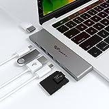 """immagine prodotto 7 in 1 Adattatore Macbook Pro, SAVFY Dual USB C Multiporta Adattatore, Thunderbolt 3 Hub [5K, 40Gb/s], Dual USB A 3.0, Supporto SD/TF Carta & 4k HDMI per 2016/ 2017 MacBook Pro 13"""" & 15"""" (Grigio)"""