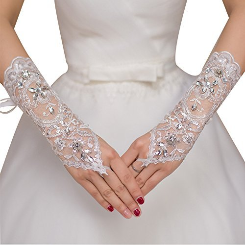 TBNA Bridal Wedding Gloves for Bride Long Lace Gloves with Beads Embroidered...