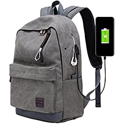 Scrox Mochila Para Chico Carga USB Portátil Mochila Bolso Escolar Colegio Mochila Bolso Para Hombre Mujer Estudiante 44x32x17cm (Gris)