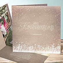 Einladungskarten Kommunion Bastelset, Zauberlicht Kommunion 10 Karten,  Quadratische Klappkarte 145x145 Inkl. Weiße Umschläge