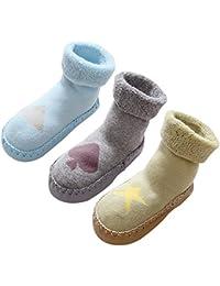 LIUCHENGHANG - Pack de 3 Pares de Zapatillas de Casa para Invierno Anti-slip con Dibujo Lindo Calcetines Antideslizantes Largos de Algodón Suave Calentito para Bebé Niños Niñas - 0-3 Años