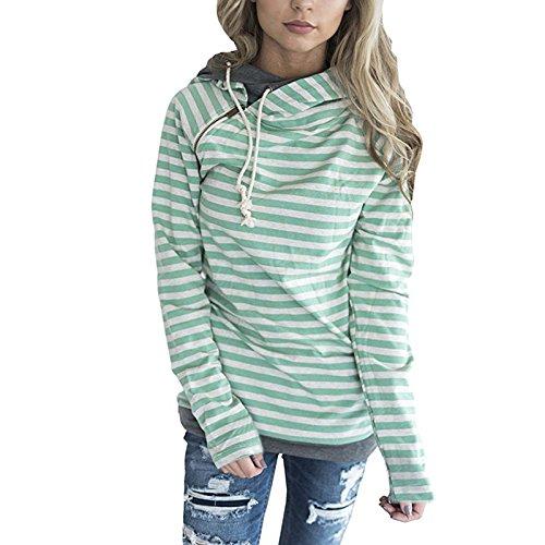 ASSKDAN Damen Gestreift Pulli Sweatshirts Hoodie Sport Langarm Reißverschluss Pullover Outerwear (EU 38/M, Grün) - 2