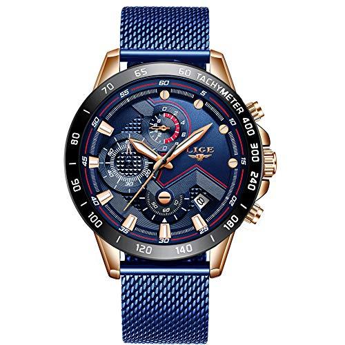 LIGE Herrenuhren Mode wasserdichte Sport Edelstahl Mesh Uhr Mann mit Datum Bussiness Analog Quarz Blau Armbanduhr männer ... ... (Wasserdichte Sportliche Uhr)