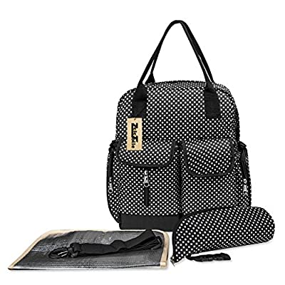 ZeleToile® Multifunctional Large Capacity Baby Diaper Nappy Changing Bag Backpacks shoulder bag Mummy Changing Set Handbag Tote Backpack - Black Dot Fashion from ZeleToile