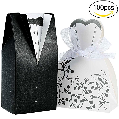 Foonii 100 Stück Süßigkeiten Schachtel Hochzeitskasten Bonbons Schachtel für Hochzeit, (50 paar)...