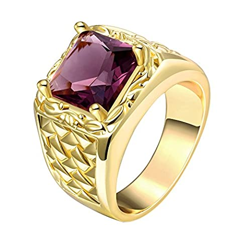 Dilanca Jewelry 14mm Men's Fashion Squares Bands Rings with Cubic Zirconia Ruby -Yellow Gold