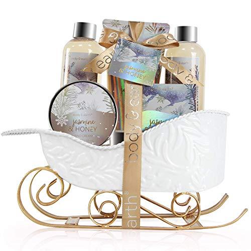 Geschenkset Frauen - Body & Earth Bade Set mit Jasmin&Honig Duft,Inklusive Schaumbad, Duschgel, Seife, Bodylotion und Handcreme.Perfekt Wellness Geschenkset für Weihnachten