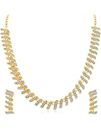 Sukkhi Pleasing Gold Plated AD Collar Necklace Set For Women