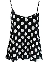 Home of Fashion Womens Black and White Polka Dot Print Camisole Vest Top