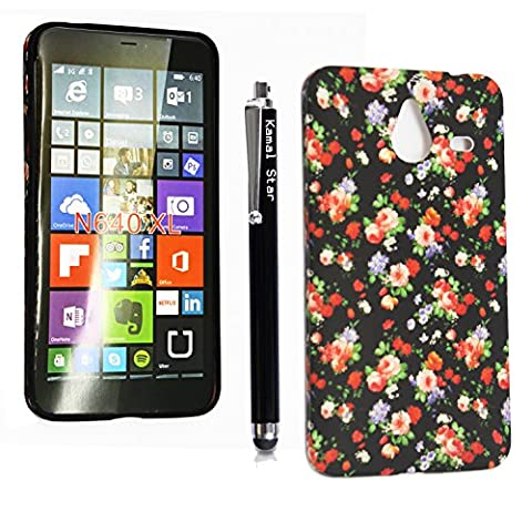 Kamal Star® MICROSOFT LUMIA 640 XL GEL SILICONE SILIKON CASE TPU TASCHE Hülle COVER+STYLUS (Roses on Black)
