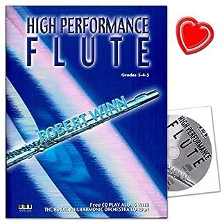 High Performance Flute - 80 Spielstücke - Reihe AMA Querflötenschule von Robert Winn - von Barock über Klassik bis Jazz und Gospel - mit CD, bunter herzförmiger Notenklammer