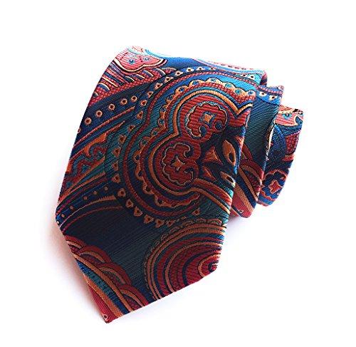 BomGuard Krawatte Paisley Dunkeltürkis-Bronze Krawatte gemustert Blumen 8cm Herrenkrawatte Krawatte Hochzeitskrawatte Krawatte Hochzeit Krawatte Cool